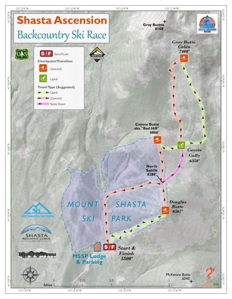 tentative course map for Shasta Ascension Race in Siskiyou County