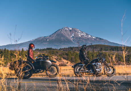 Two motorcycles in front of Mt. Shasta